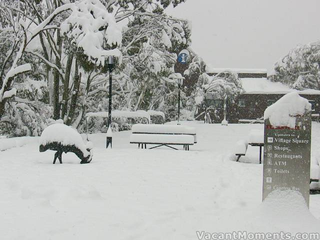 Deep snow throughout the village