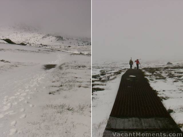 The Kosciuszko walking track - snow covered and not