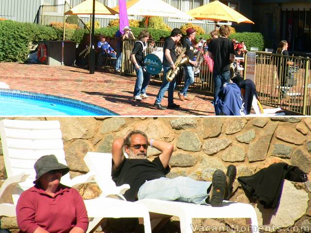 A lazy Sunday afternoon at poolside was popular with performers and locals alike