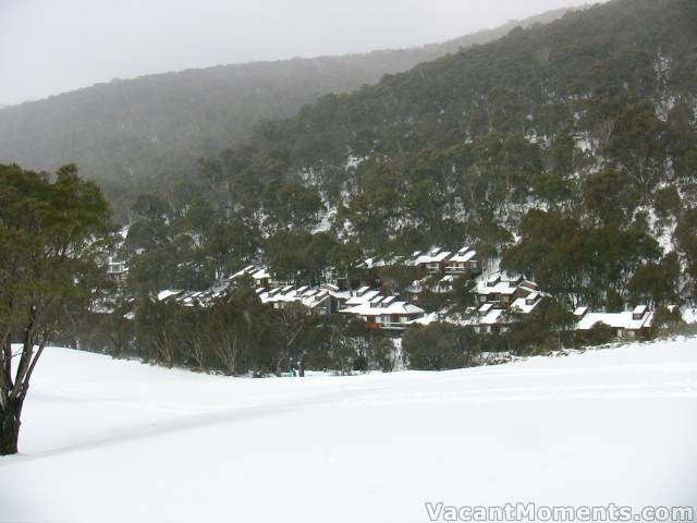 Saturday: Riverside Cabins beyond the 9th Hole on Thredbo Golf Course
