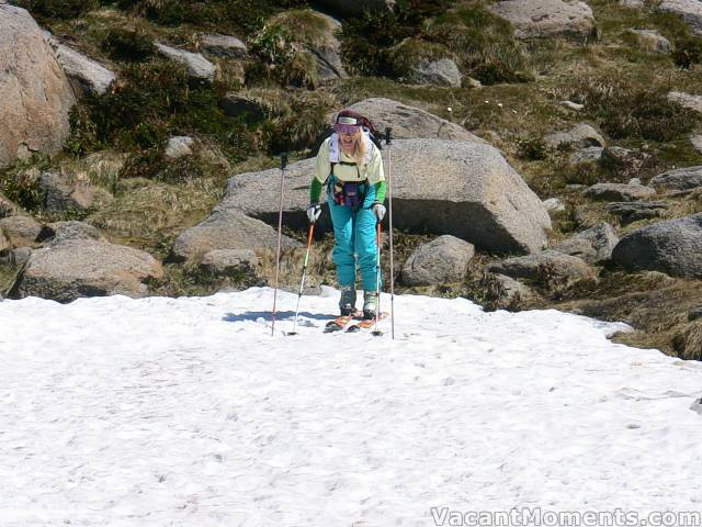 Marion in a 'starting gate' of old ski poles found above the slope
