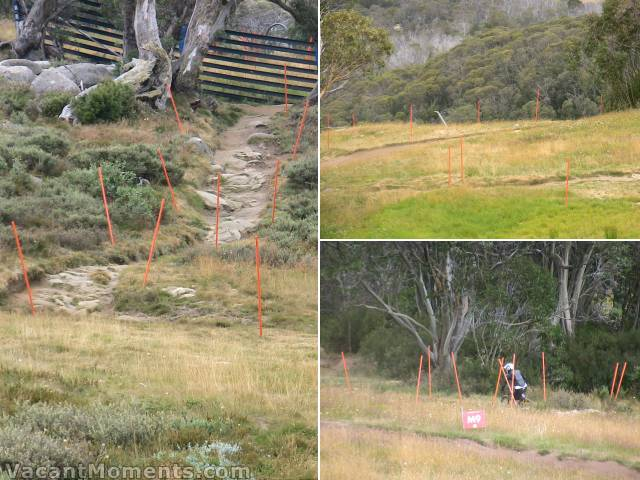 Closer to home: Is it heavy mountain fog or slalom racing?<BR>No, the orange poles are for the upcoming Downhill Nationals in Thredbo