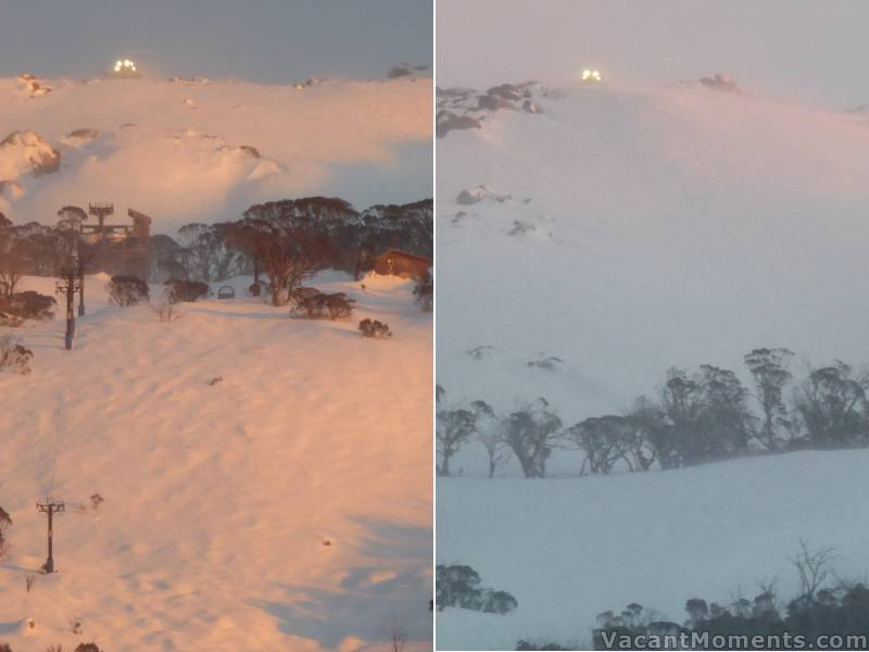 Early grooming this morning, above the Rim and on Exhibition<BR>under a pink sky and in high winds