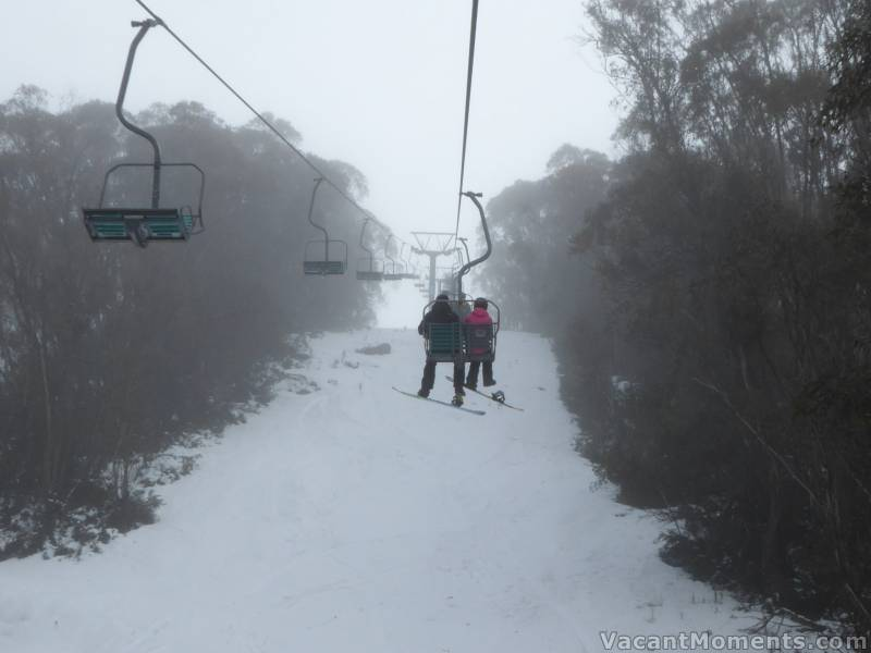 Wednesday morning - first chairs on SnowGums as Kosi chair was de-iced